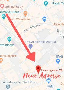 Neue Adresse: Herrengasse 28, 8010 Graz